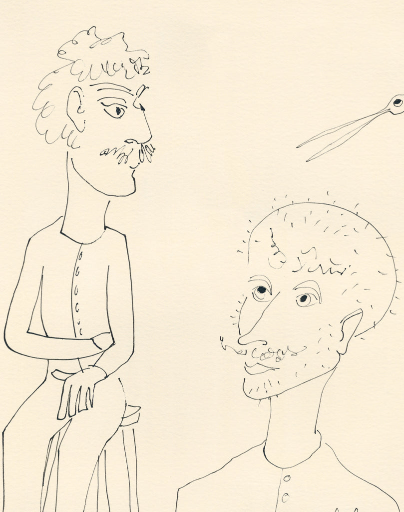 Humorous Drawing People Cartoon Painting Giclée Print Crop 1