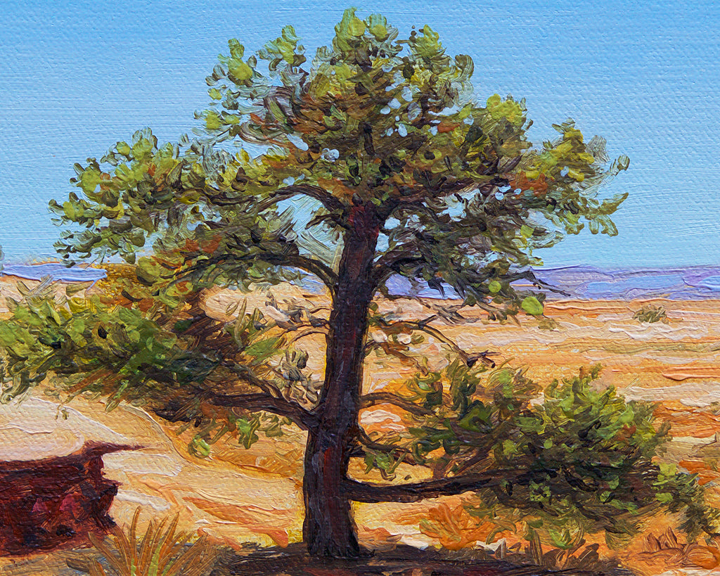 Colorful Southwest Desert Tree Painting Giclée Print Crop 1