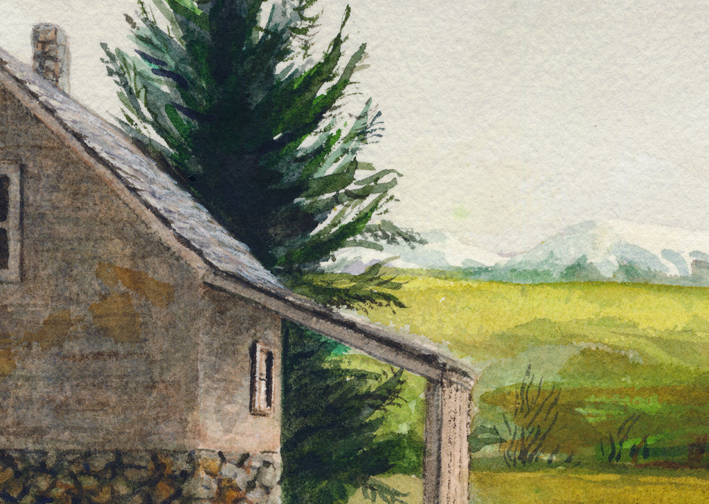 Imaginary Early West Home in Mountains Painting Giclée Print Crop 1