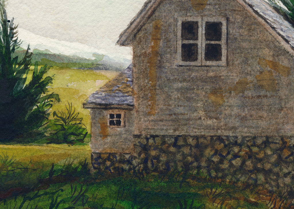 Imaginary Early West Home in Mountains Painting Giclée Print Crop 2