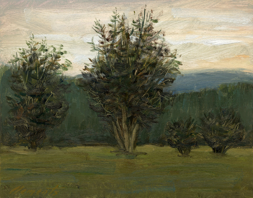 Four Trees Along a Hill Evening Painting Giclée Print
