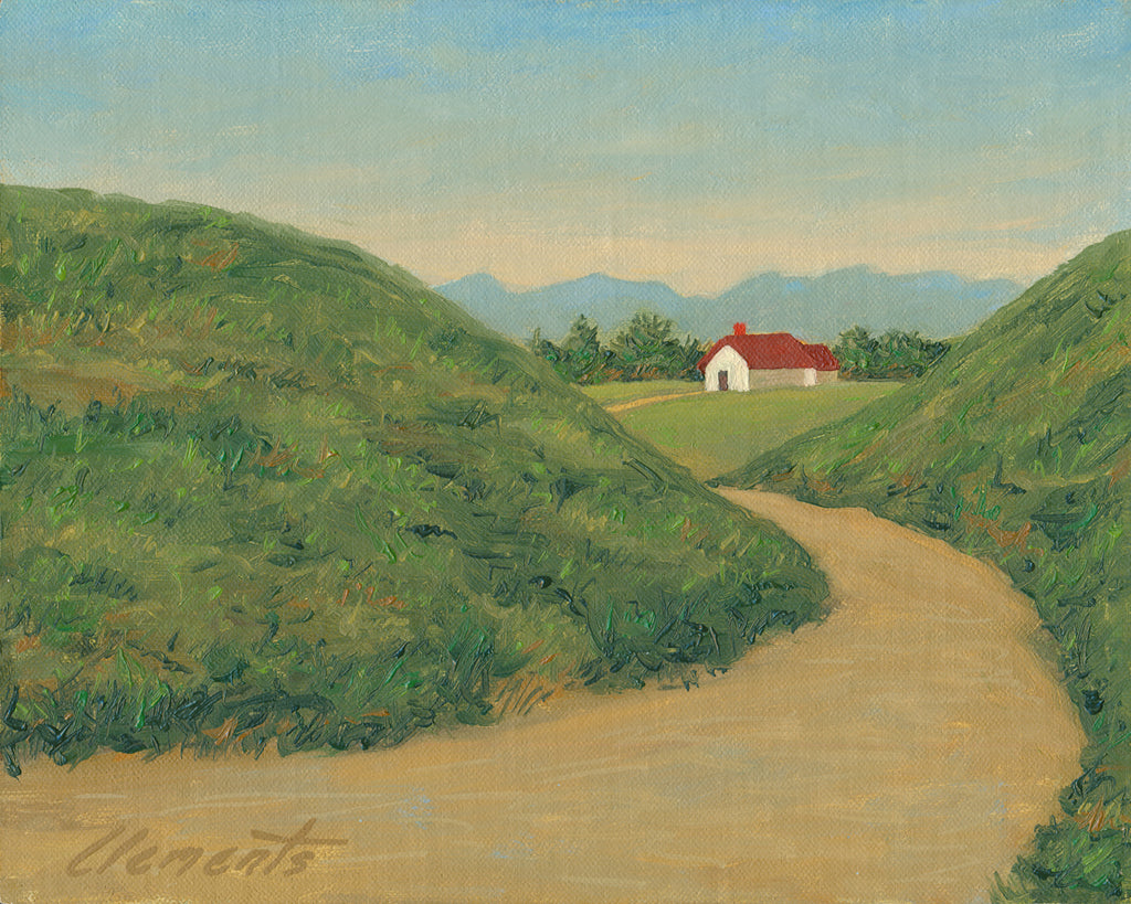 Farm House Road with Mountains Painting Giclée Print