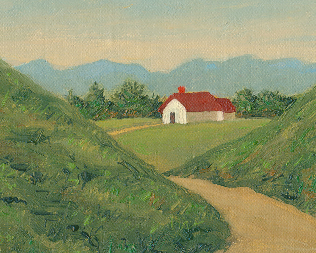 Farm House Road with Mountains Painting Giclée Print Crop 1