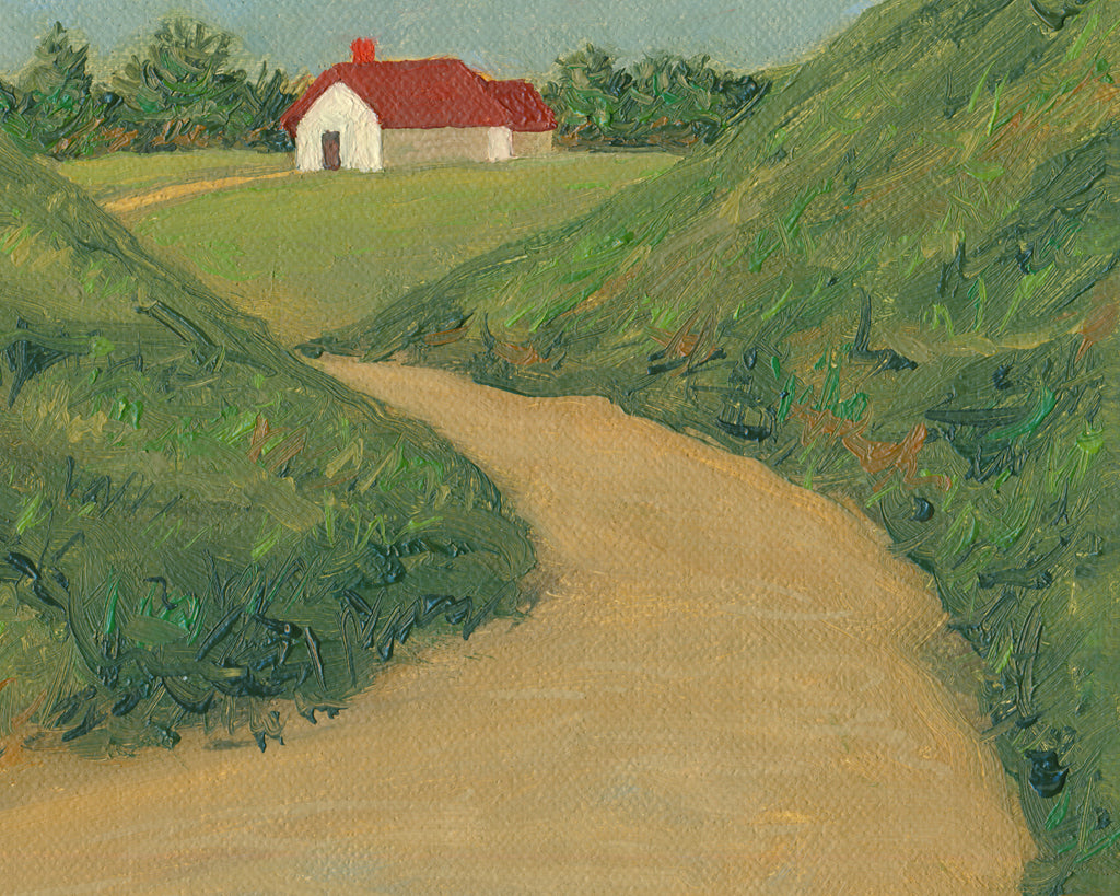 Farm House Road with Mountains Painting Giclée Print Crop 3