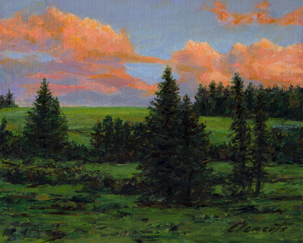 Palouse Sunset Farm Hill with Trees Painting Giclée Print