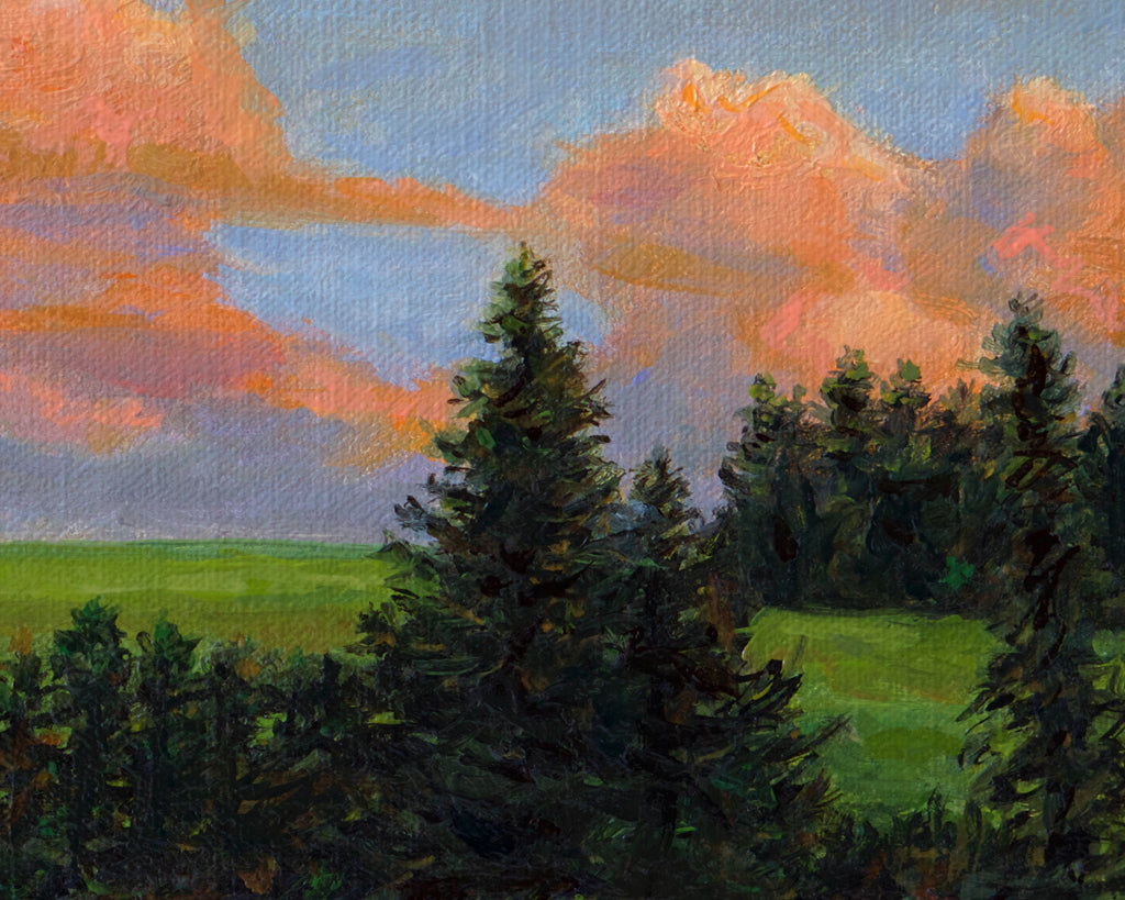 Palouse Sunset Farm Hill with Trees Painting Giclée Print Crop 1