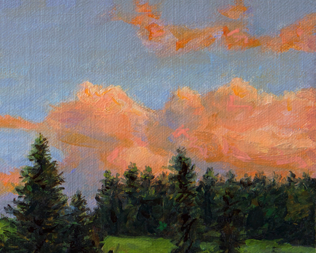 Palouse Sunset Farm Hill with Trees Painting Giclée Print Crop 2