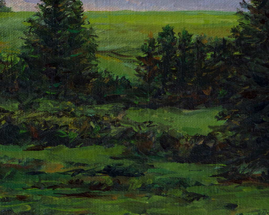 Palouse Sunset Farm Hill with Trees Painting Giclée Print Crop 3