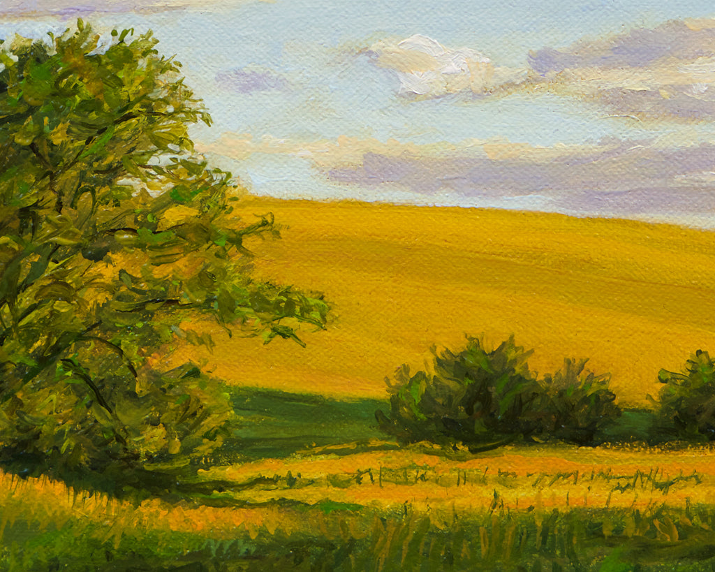 Sunny Palouse Farm Field with Trees Painting Giclée Print Crop 1