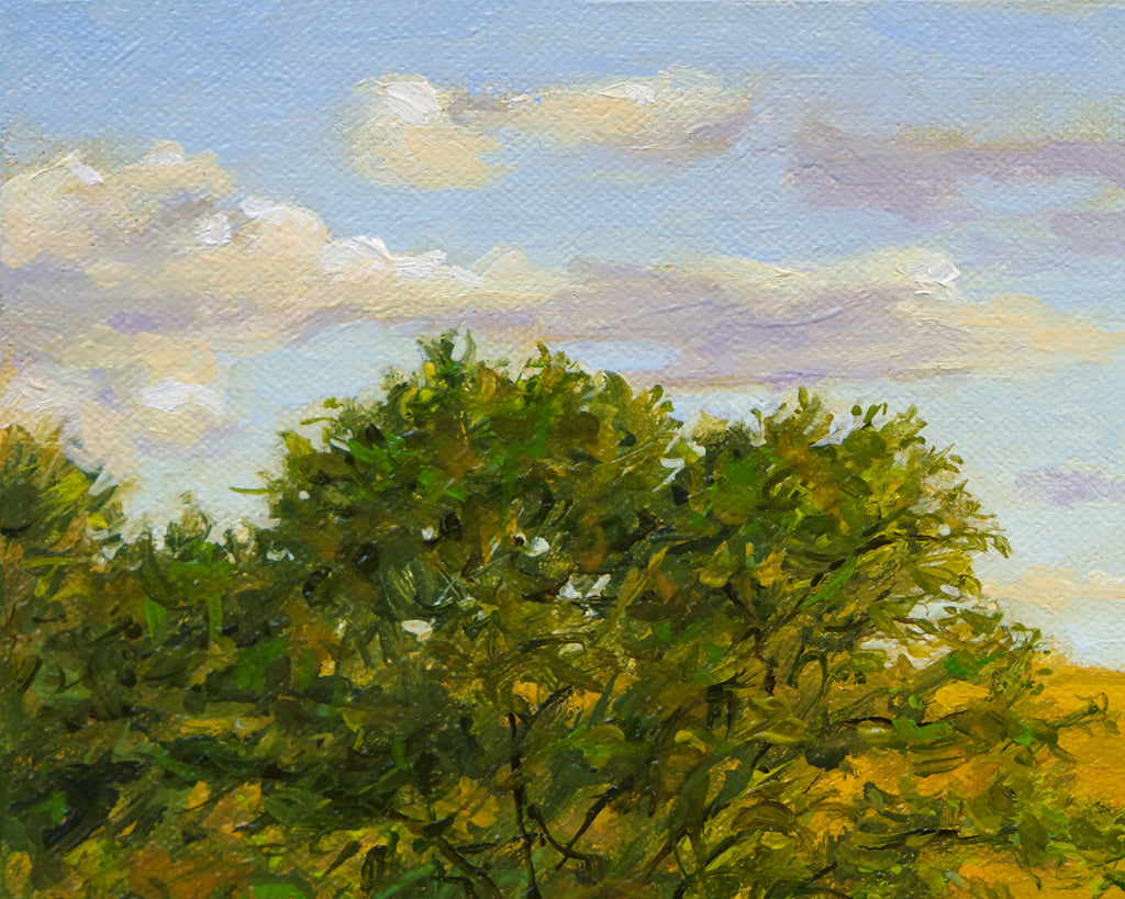 Sunny Palouse Farm Field with Trees Painting Giclée Print Crop 2