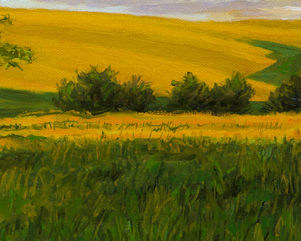 Sunny Palouse Farm Field with Trees Painting Giclée Print Crop 3