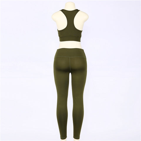 2 piece set women suit crop top legging set
