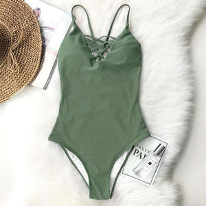 Cupshe Aesthetics Feeling Cross One-piece Swimsuit Back Lace Up Deep V neck Bikini Set Padded Bathing Suit Hollow Swimwear - L / Green