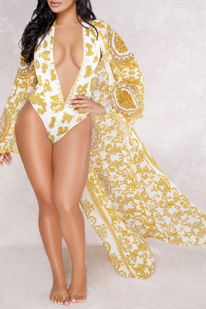 Versace inspired bodysuit with cover up
