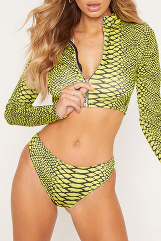 snakeskin Printed Yellow One-piece Swimwears