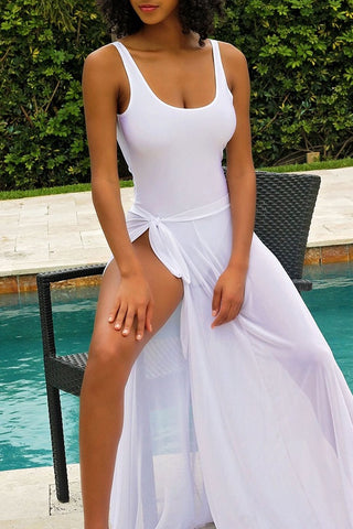 See-Through White Two-piece Swimwear (With Grenadine )