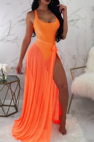 Sexy See-Through Orange Two-piece Swimwear