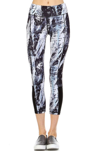 Brush Strokes Capri Leggings with Side Mesh Panels