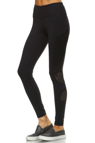 Dot Mesh Panel Full Leggings with Side Pockets