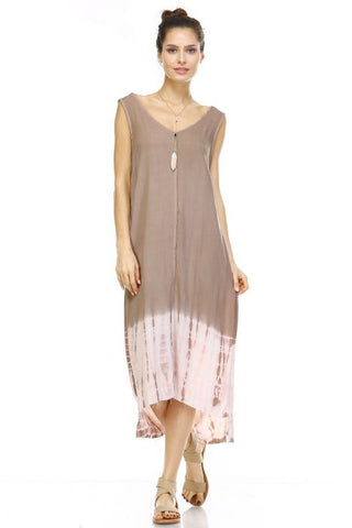 V-Neck Tie-Dye Tip Dress
