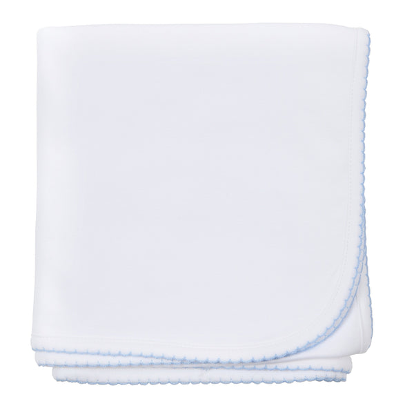 Magnolia Baby White with Blue Essential Blanket
