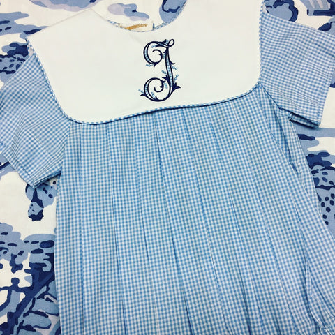 Blue Gingham Bubble with Collar