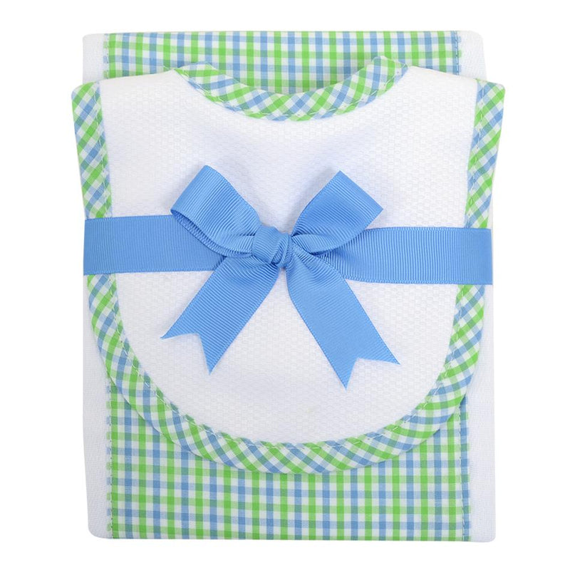 Blue and Green Check Bib & Burp Set