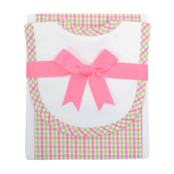 Pink and Green Check Bib & Burp Set