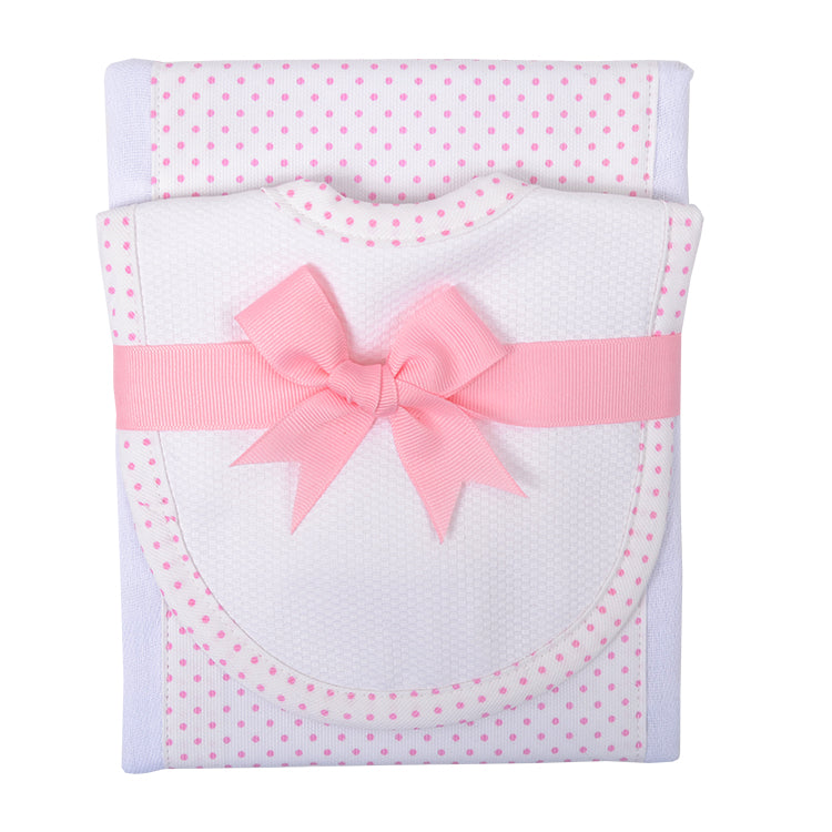 Pink Dot Burp Pad and Bib Set
