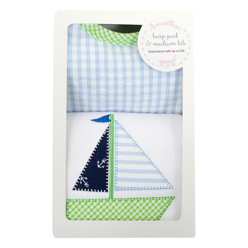 Blue Sailboat Bib & Burp Box Set