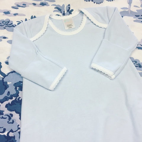 Newborn Gown - Blue with White