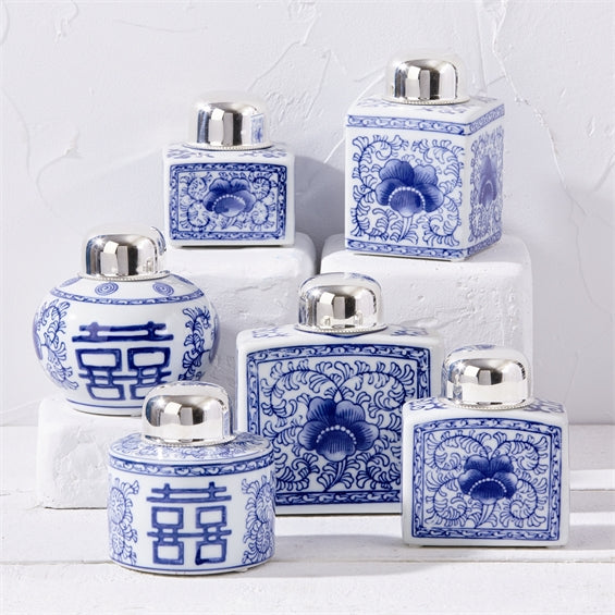 Blue Canton Tea Jars