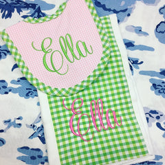Gingham Burp Pad and Bib Set - Pink and Green