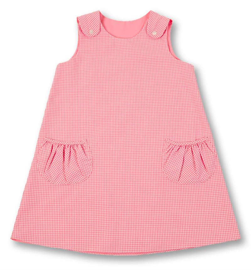 Pink Gingham A Line Dress with Pockets