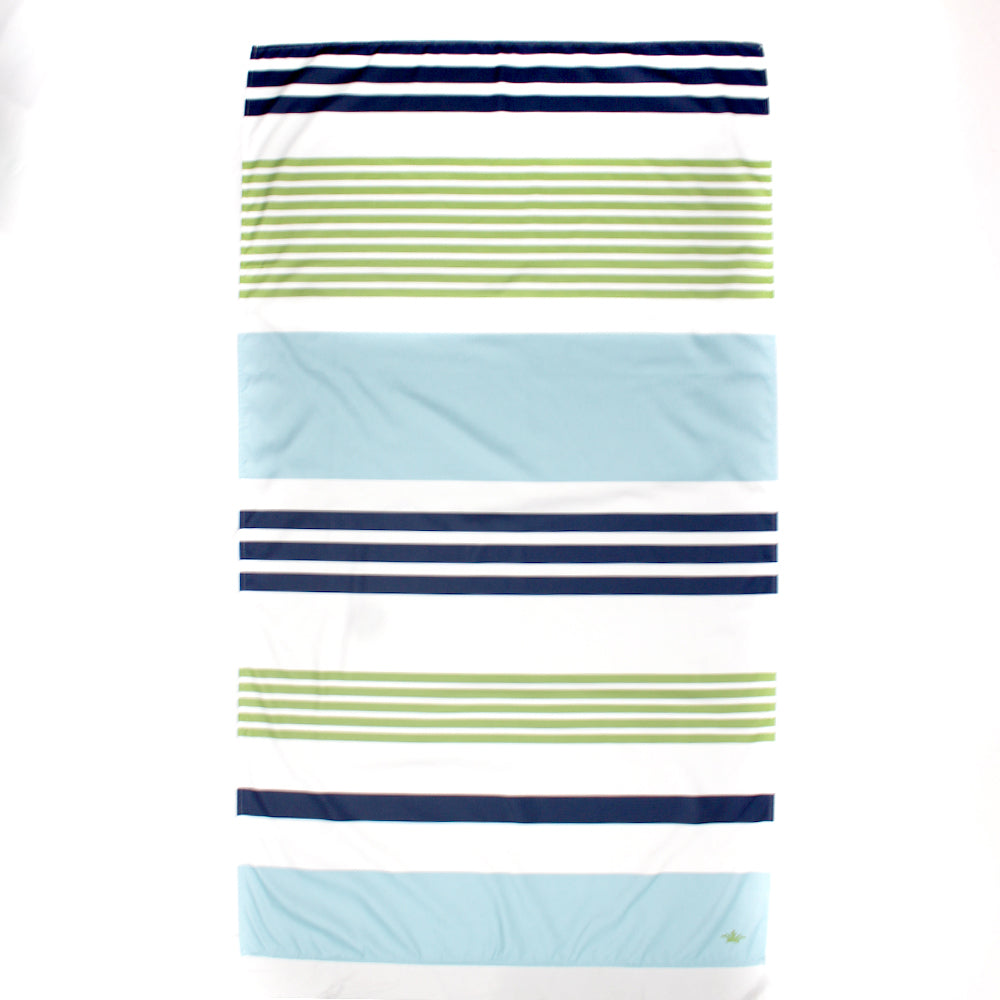 Microfiber Beach Towel - Navy Green and Lagoon