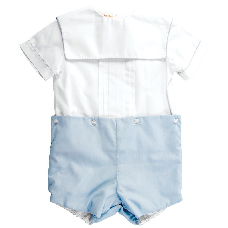 White and Blue Square Collar Button on Short Set