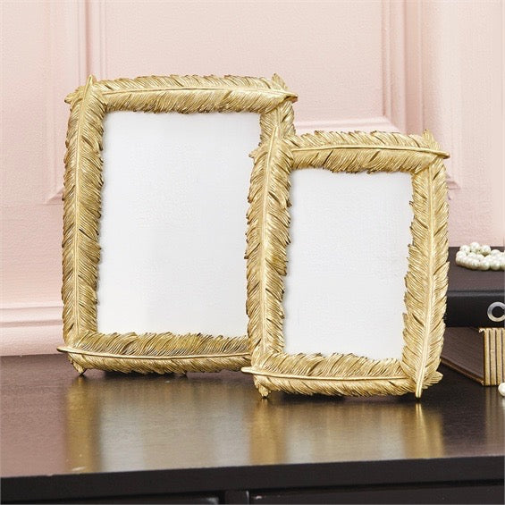 Gold Feather Picture Frames