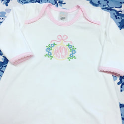 Newborn Gown - White with Pink Trim