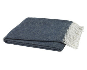 Italian Herringbone Throw - Navy