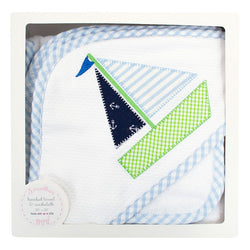 Blue Sailboat Hooded Towel & Washcloth Set