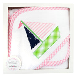 Pink Sailboat Hooded Towel & Washcloth Set