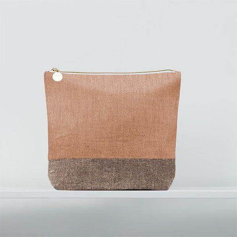 Christen Maxwell Large Cosmetic Bag - Rose Gold + Burlap