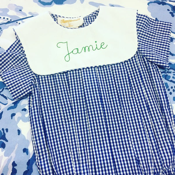 Navy Gingham Bubble with Collar
