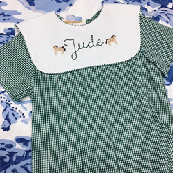 Hunter Green Gingham Bubble with Collar
