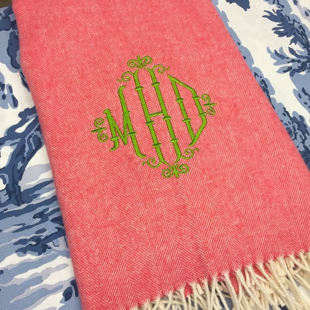 Italian Herringbone Throw - Coral