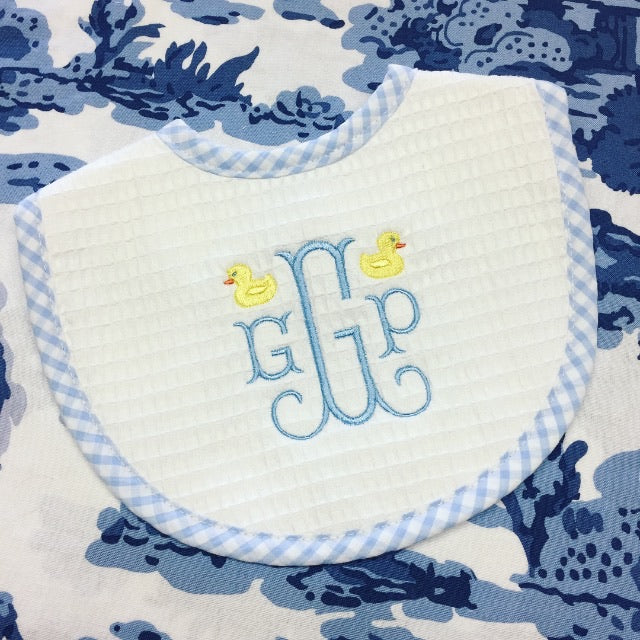 Gingham Trim Bib - Blue