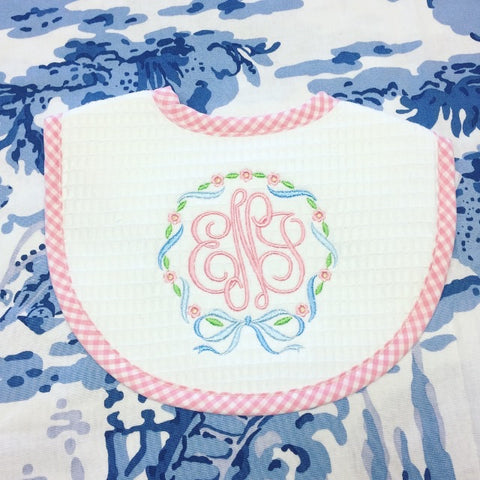 Gingham Trim Bib - Pink