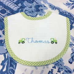 Gingham Trim Bib - Green