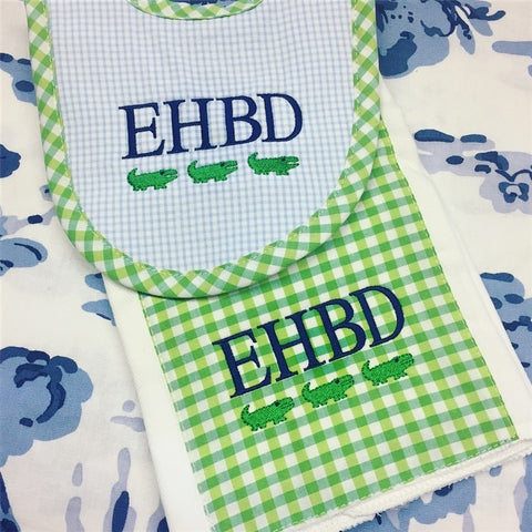 Gingham Burp Pad and Bib Set - Blue and Green