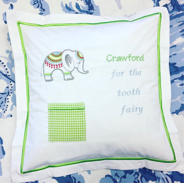 Tooth Fairy Pillow - Green Elephant